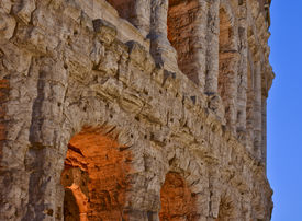 picture of spqr  - The signs of time on the marble of the Theatre of Marcello in Rome  - JPG