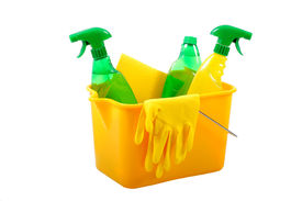 picture of house cleaning  - Green and chemical cleaning products together in a bucket - JPG
