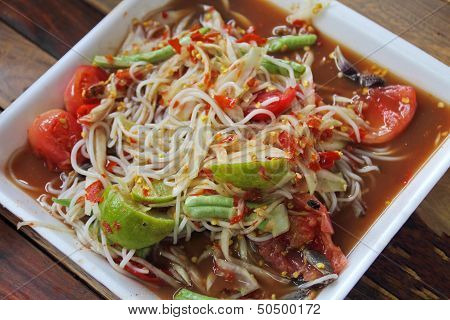 Thai Noodles And Papaya Salad In Foam Plate
