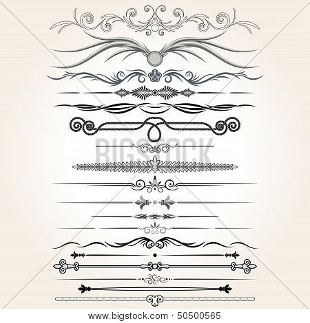 Decorative Rule Lines. Vector Design Elements
