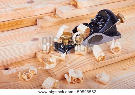 Small Block Plane And Wood With Shavings