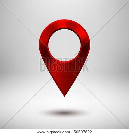 Technology Pointer Button with Red Metal Texture