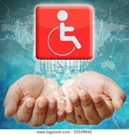 Disabled Icon On Hand ,medical Background