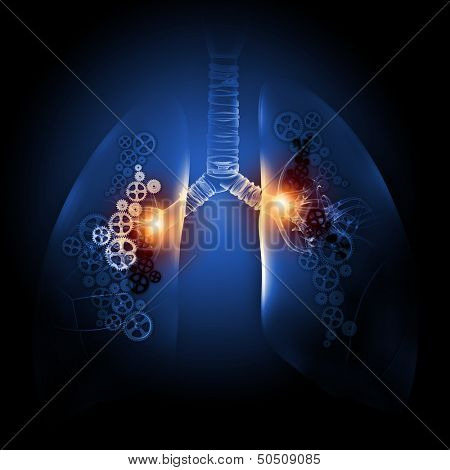 Human lungs with mechanisms. Health and medicine