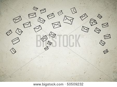 Business background with drawn ideas. Email concept