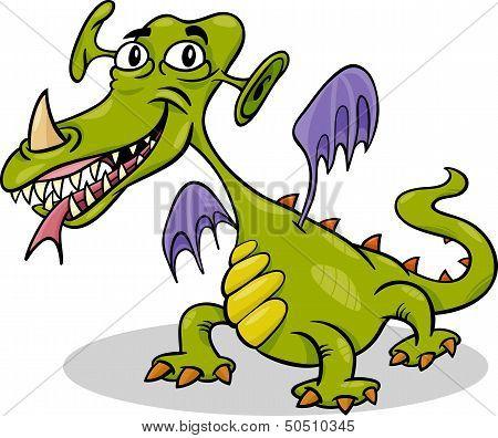 Cartoon Funny Monster Or Dragon Illustration