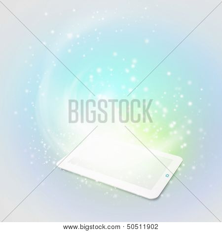 Image of tablet pc with color lights and splashes