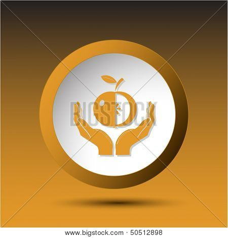 apple in hands. Plastic button. Vector illustration.