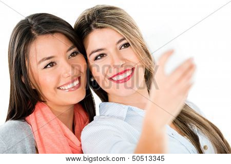 Happy girls taking a self protrait