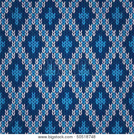 Seamless blue knitted pattern