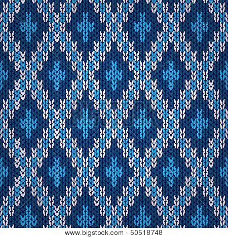 Seamless blue knitted pattern