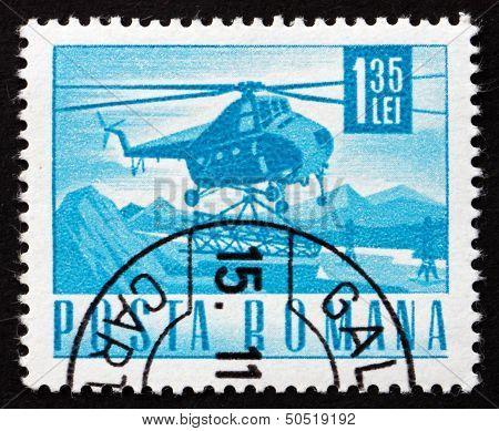 Postage Stamp Romania 1968 Helicopter Mi-4