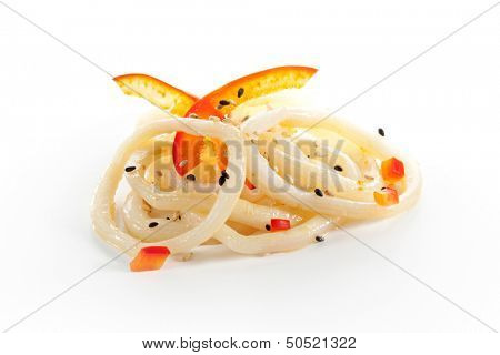 Squid Rings Isolated over White