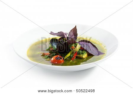 Fish Minestrone with Spinach