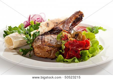 Pork Loin BBQ with Fresh Vegetables and Mushrooms