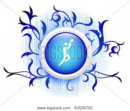 basketball icon on blue decorative button