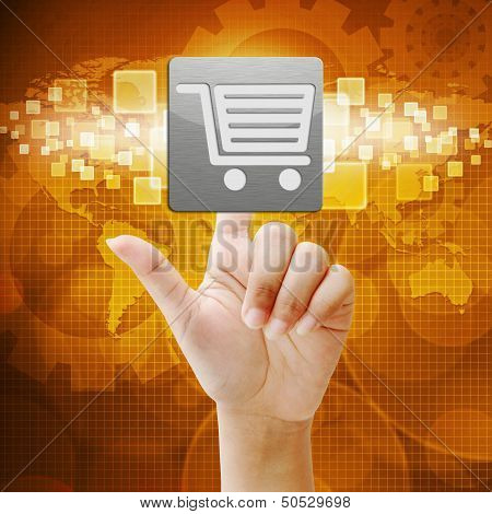 In Press Shopping Icon On Touch Screen Interface