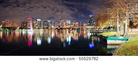 Orlando Lake Eola panorama with office buildings at night