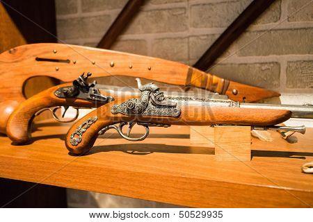 Old Pistols On Display