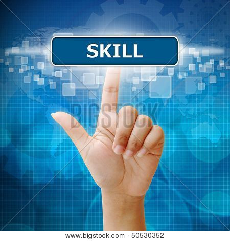 Hand Woman Press On Touch Screen Interface Skill Button