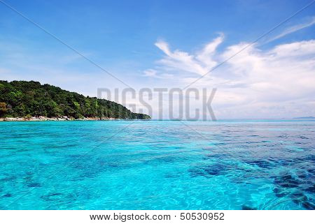 Beautiful Blue Sea and blue Sky From Tachai Island In Thailand