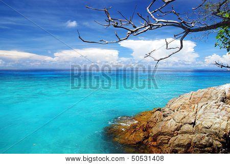 Beautiful Blue Sea ,blue Sky From Tachai Island In Thailand