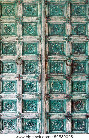 Pattern Of Flower Carved On Wood Vintage Background