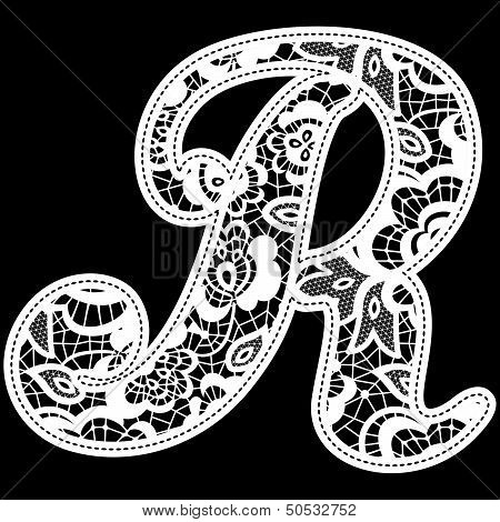 lace wedding initial r