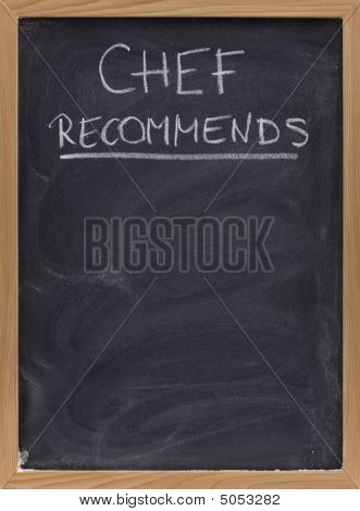 Chef Recommends Advertisement On Blackboard