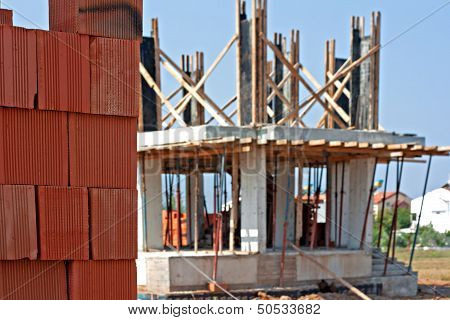 Stack Of Red Building Blocks