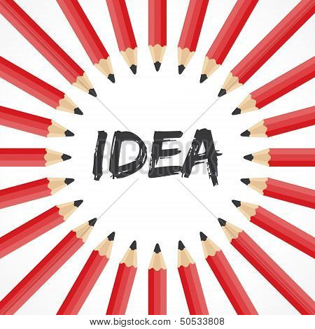 Idea word with pencil background