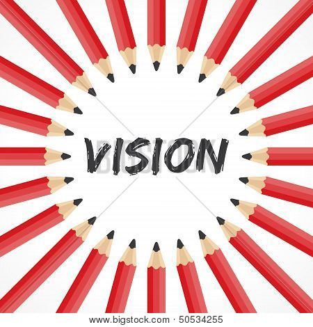 Vision word with pencil background