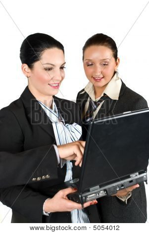 Business Woman Work On Laptop