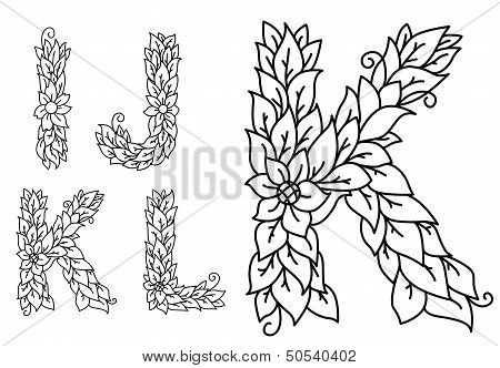 Set of letters in floral style