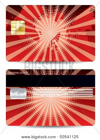 Red Credit Card Design With Map