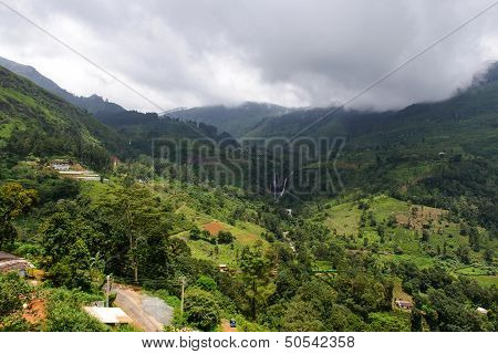 Sri Lanka. Nuwara Eliya. Natural Landscape In The Tea Plantations