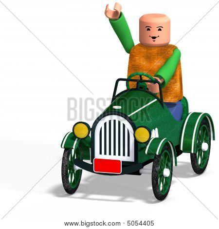 Toy Boy Drives Car