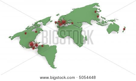 Map Depicting Locations Of H1N1 Swine Flu Outbreak