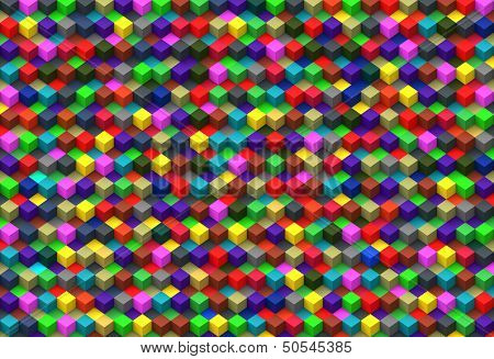 Multicolor cubes abstract background