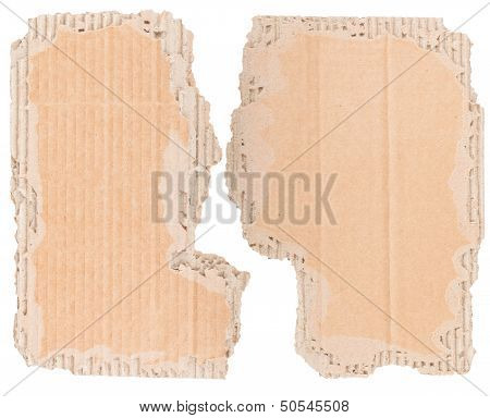 Two Pieces Of Old Cardboard With Torn Edges