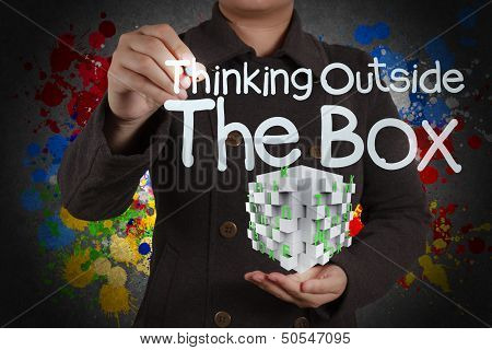 Thinking Outside The Box And Splash Colors