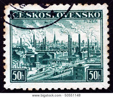 Postage Stamp Czechoslovakia 1938 View Of Pilsen, Plzen