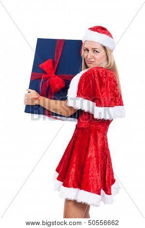 Greedy Christmas Woman With Big Present