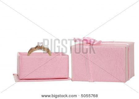 Diamond Engagement Ring In A Pink Jewllery Box