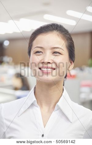 Portrait of Young Woman, White Collar Worker
