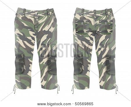 Mens Cargo Capri with Camouflage Prints