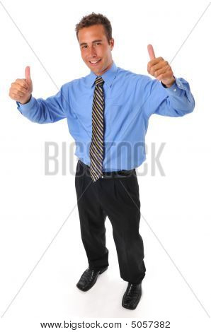 Young Businessman With Thums Up Gesture