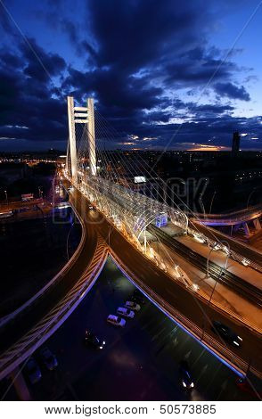 Basarab bridge at twilight in Bucharest city
