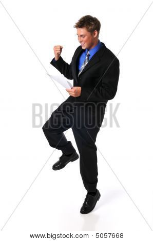 Young Businessman Showing Excitement