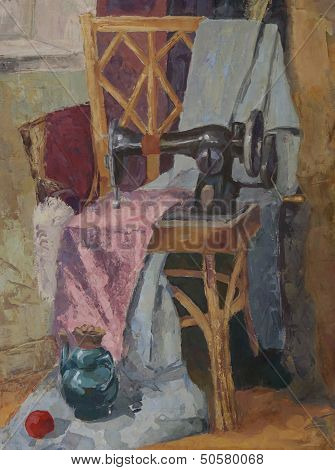 Still Life With Antique Sewing Machine